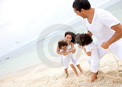 Family having fun - beach