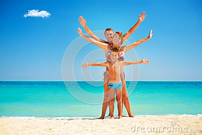 Family Having Fun at the Beach
