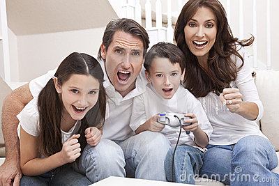 Family Having Fun Playing Video Console Games