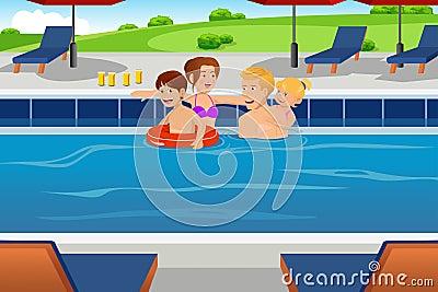Family having fun in a swimming pool