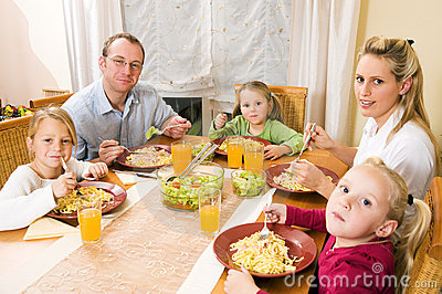 Family having a meal together