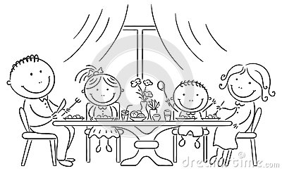 Family Having Meal Together Stock Vector - Image: 44788917 (400 x 243 Pixel)