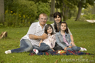 Family having picnic