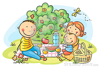 Family having picnic outdoors Vector Illustration