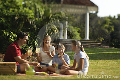 Family having picnic in park.