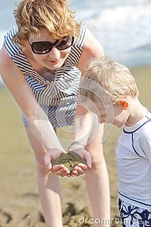 Family at hawaii beach