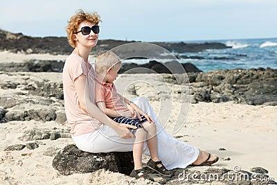 Family at the hawaiian beach