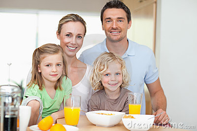 Family with healthy breakfast