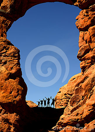 Free Family Hiking In Arches National Park Royalty Free Stock Photography - 24208597