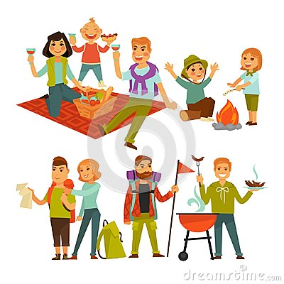 Free Family Hiking Picnic Or People Camping Trip And Barbecue Vector Flat Icons Stock Image - 96658781