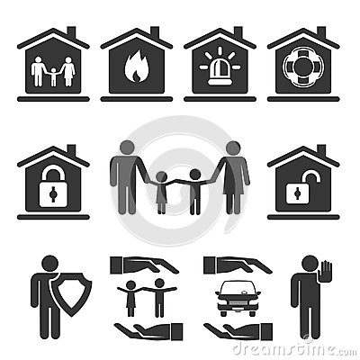 Gray Family Home And Auto Insurance Icon Graphic Designs On White