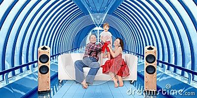 Family and home cinema in bridge interior