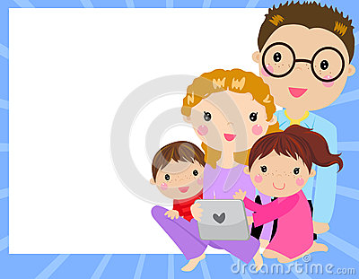 family at home having fun using a tablet computer