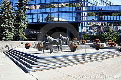 Family of Horses, in Municipal Plaza Editorial Image