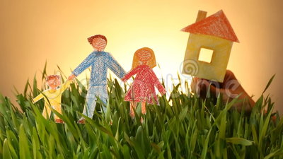 Family and House drawn icon on Grass green summer background. Drawn Family and House on Grass green background. Real estate in ecological area. Social concept