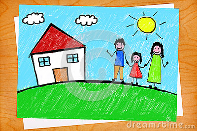 Family House Freehand Child Drawing on Desktop