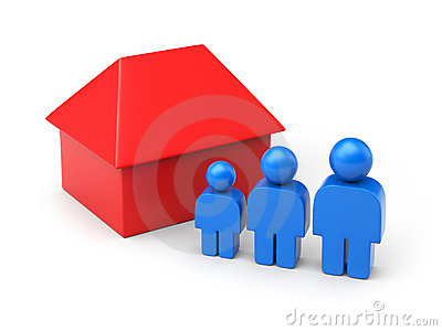 Family and house in simple figures