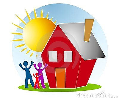 Family With House Sun Clip Art
