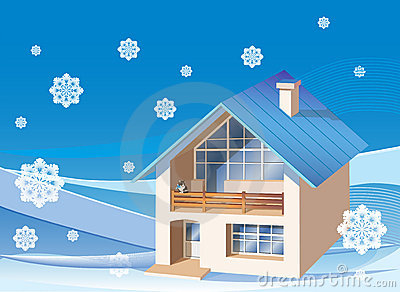 family  house on the winter background