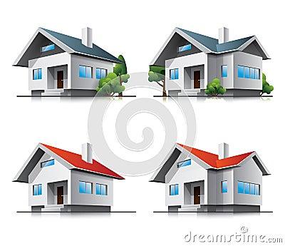 Family houses cartoon icons