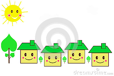 Family houses cartoon style