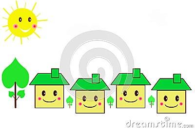 Family houses cartoon style