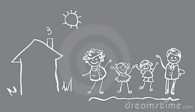 Family icon vector banne 4 people