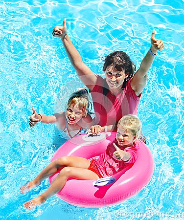 Free Family In Swimming Pool. Stock Photo - 30021260