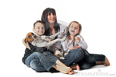 Family and  jack russel terrier