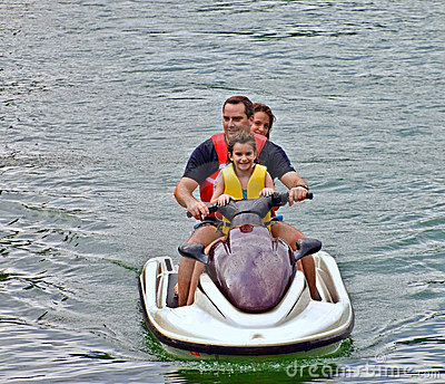 Family on  a Jet Ski