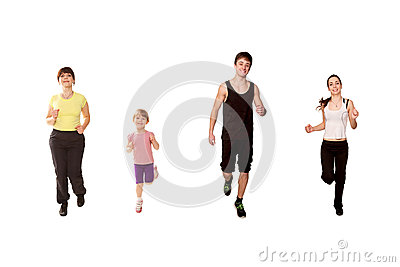 Family jogging, running, fitness workout.