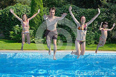 Family jump to swimming pool