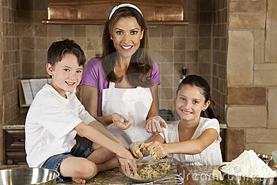 Family In Kitchen Cooking & Baking Making Cookies