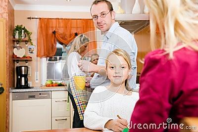 Family life - children doing school work