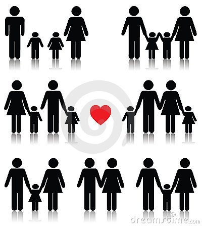Free Family Life Icon Set In Black With A Red Heart Stock Photography - 14952212