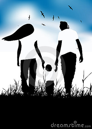Family with little baby walk on summer field