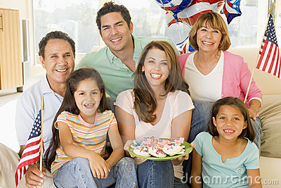 Family in living room on fourth of July