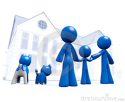 Family Looking at Blue House Blueprint Style