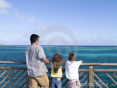 Family looking at the ocean