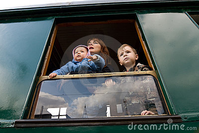 Family looking out of window