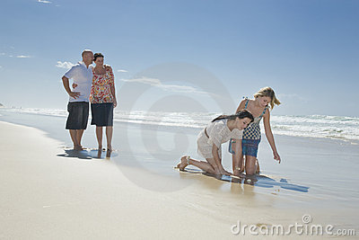 Family looking at shell on beach