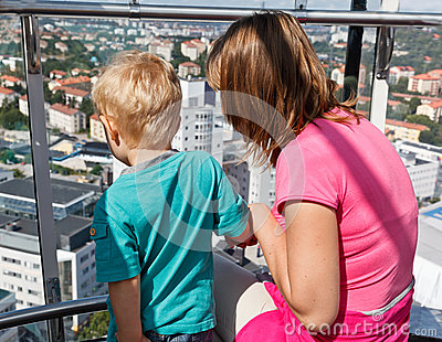 Family looking at Stockholm
