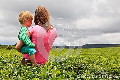 Family looking at tea plantation field