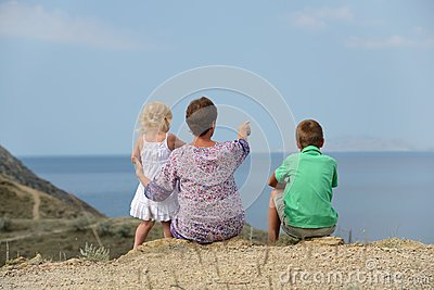 Family looking to the sea