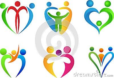 Family love logo Vector Illustration