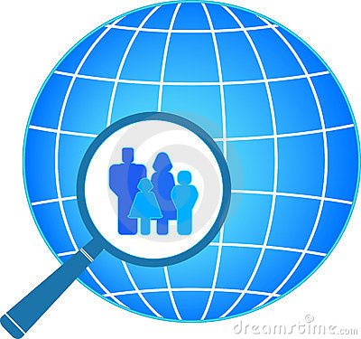 Family in magnifier on planet background