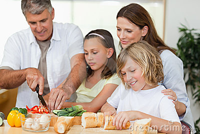 Family making sandwiches