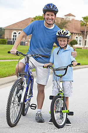 Free Family Man And Boy Child, Father & Son Cycling Royalty Free Stock Photography - 23015507