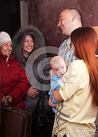 Family  is meeting a kinsfolk