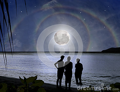 Family, miracle moon rainbow. Paradise mystery